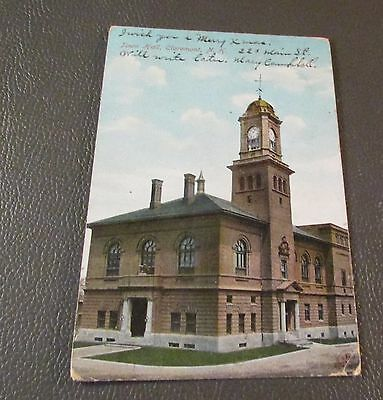 Old Postcard  CLAREMONT, N.H.   {TOWN HALL---1906}