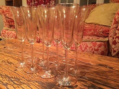 8 x Flute Glasses by Laura Ashley