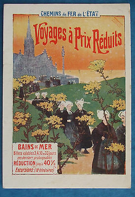 FRENCH RAILWAY ADVERTISING Postcard c.1910 CHEMINS L'TAT RAILWAYS OF THE STATE