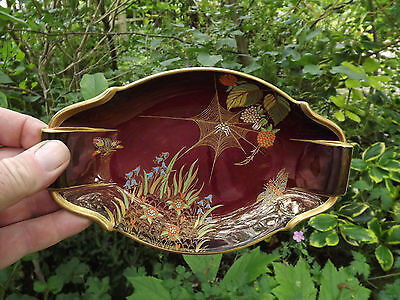 Vintage Carlton Ware Rouge Royale dish with spider web and berries