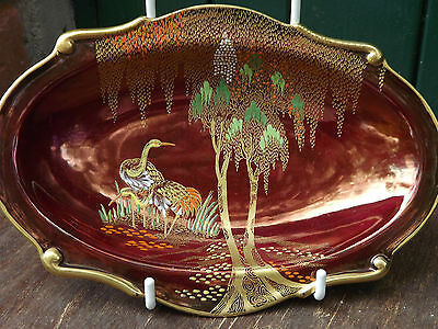 Carlton Ware Rouge Royale Oriental pattern dish with herons and trees