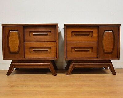 Walnut And Burl Mid Century Young Nightstands- A Pair