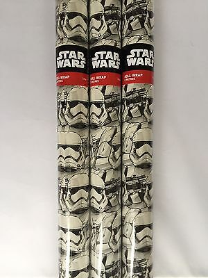 6M STAR WARS STORMTROOPER WRAPPING PAPER by HALLMARK 3 X 2M ROLLS - BIRTHDAY