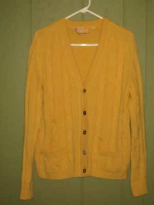 Vtg Bambergers Golden Brown 1950's/60's Men's Wool Cable Knit Cardigan Sweater M