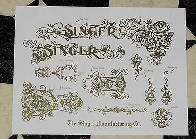 Waterslide Replacement Decals for an Antique Singer Sewing Machine, Model 66