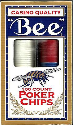 Poker Chips -100 Count  -3 Values -Bee Branded - Casino Quality - Red White Blue