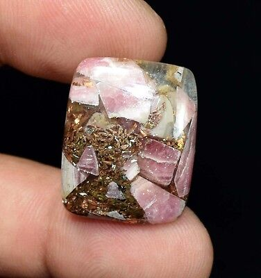 Excellent !  28.50 Cts. Natural Copper Rhodochrosite Cushion Cab For  Pendant