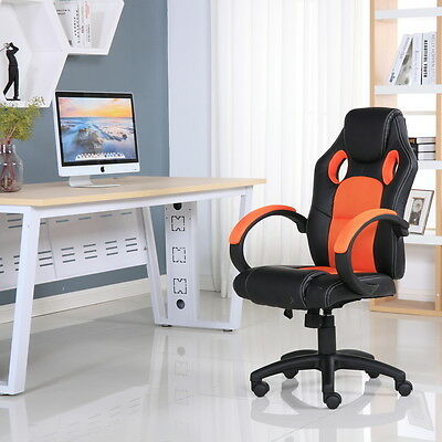 Executive Leather Sports Racing Office Desk Gaming Computer Study Chair
