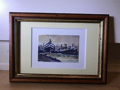 Charming Miniature Watercolour Painting Of Ships In Wood Frame