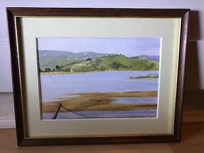 Lovely Signed Watercolour Painting Of Coastal Scene In Wood Frame