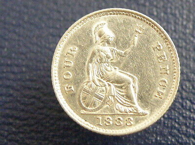1888 - Queen Victoria - SILVER GROAT FOURPENCE COIN - Good Grade Good Detail