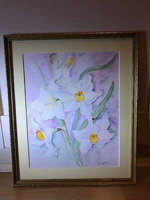 Beautiful Signed Watercolour Painting Of Daffodils In Gold Frame