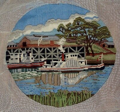 Semco Long Stitch– Steaming on the Murray. COMPLETED. 29cm round