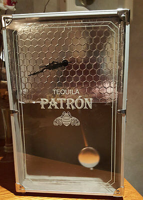 Silver Patron Tequila Box Clock with Pendulum, bar clock, novelty clock, gift fo