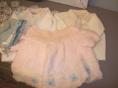 Vintage Doll Baby Sweaters Hat Blue Bird Renzos Imports Heek Suede Lot of 4