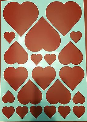 22 Valentine Love Heart gloss Vinyl Decal Stickers. Choice of colours. Windows