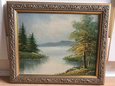 Lovely Signed Oil Painting On Board of Landscape In Ornate Gold frame
