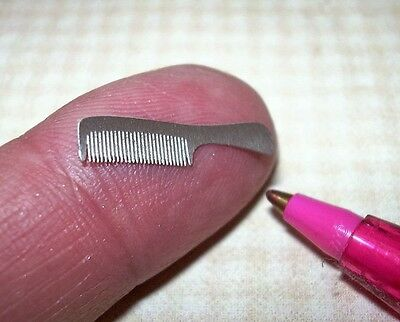 Miniature Stainless Steel Comb with Handle, Laser-Cut Teeth: DOLLHOUSE 1:12