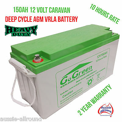 12V 150Ah Caravan Battery 42Kg Deep Cycle Agm Vrla Solar Led Camping Caravan