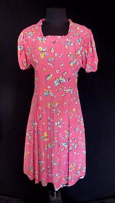 Rare Collector's French Vintage 1930's-1940's Wwii Era Pink Rayon Dress Size 6-8