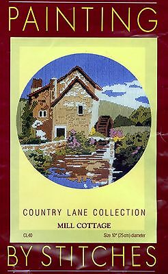 Painting by Stitches Partially Started Long stitch 'Mill Cottage' See Pictures.