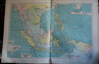 1915  Large Antique Mercantile Map - East Indian Ports, Insets Of Several Ports