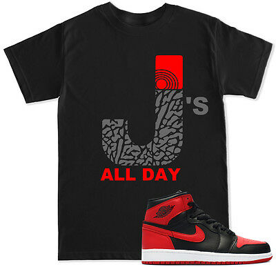 2b9be3a82b8 J's ALL DAY Red Cement T Shirt to match with Air Jordan RETRO 1 Bred OG