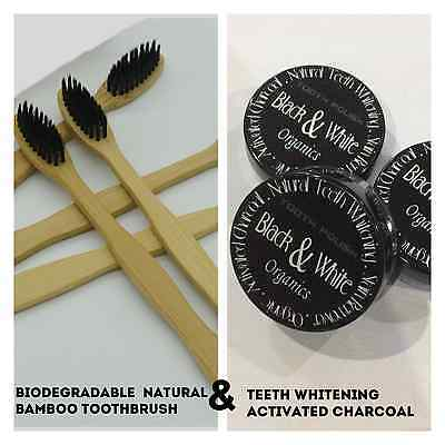 Activated charcoal Tooth polish and natural bamboo toothbrush gift set - Offer