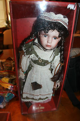 """18"""" Red Shed Doll, w/ tags, in box, Rebecca, Porcelain doll L@@K"""