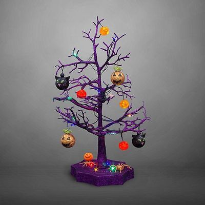 Avon Halloween LED Sparkle Tree with Cats, Pumpkins And Spiders, 19-Inches