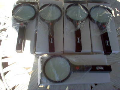 """5 Pcs. Aven Magnifying Glasses W/ Light, 3-1/8"""" Wide- New In Box"""