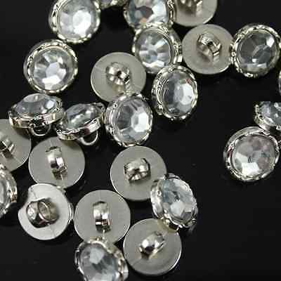 100Pcs Top Czech Crystal Clear Rhinestone Sewing Shank Button Clothes Craft 10mm