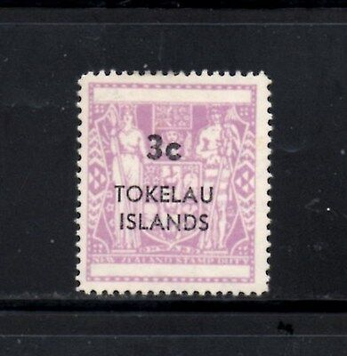 (Ref-9477) Tokelau Islands 1967 3c (Surcharge) Reddish Lilac SG.12 Mint (Hinged)