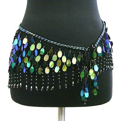Belly Dance Lace Shiny Sequin Hip Scarf Belt Wrap -- Black/Multi
