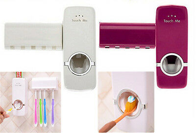 Automatic Toothpaste Dispenser & 5 Toothbrush Holder Stand Set Wall Mount Rack