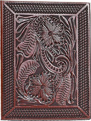 Western Paper Pad Holder 3D Leather Tooled Saddle Magh Western Home Office Decor