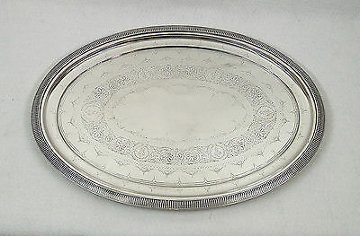 Antique Gorham Sterling Silver Engraved Footed Tray 16 ""