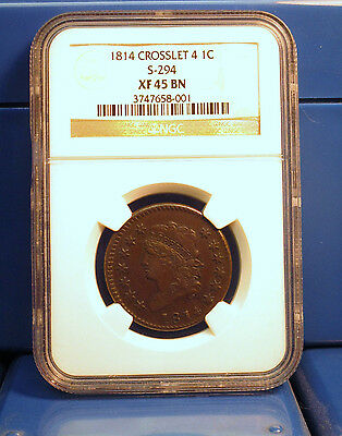 1814 1C NGC XF 45 Large Cent Brown 1c CROSSLET 4