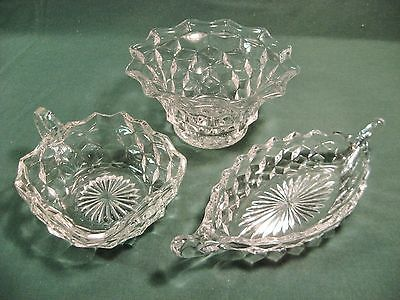 "3Pcs. FOSTORIA AMERICAN DEPRESSION GLASS NAPPY RELISH BOAT 6"" BOWL"