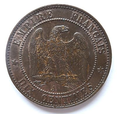 1865  Bronze 10 Centimes Napoleon Iii France Coin 45% Lustre (3673A)