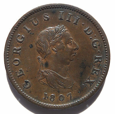 1807 George Iii Half Penny. Nice Condition (3796A)