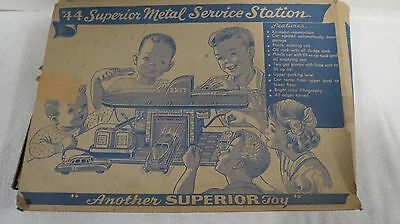 Superior Toy Metal Service Station #44 With Original Box 1950 Rare Tin Not Marx