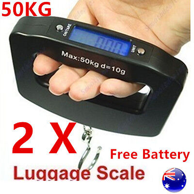 TWO Electronic Luggage Scale Portable Digital Handheld Weight Travel Suitcase