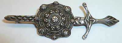 J. Cook & Sons Sterling Silver Hallmarked Celtic Kilt Pin Sword And Shield