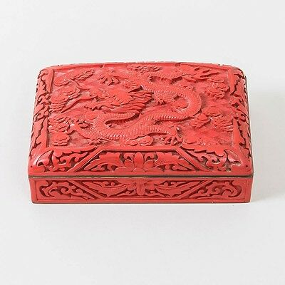 Antique Chinese Carved Cinnabar Lacquer Box Dragon Hinged Lid Blue Enamel 4x6