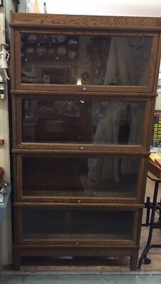 Vintage Hale Solid Wood Stackable Lawyer Bookcase Shelves Wall Unit Office