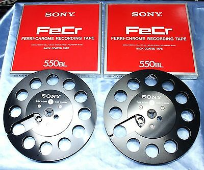 "2 ORIGINAL  SONY EMPTY PRECISION METAL REEL 7"" (7 inch); 1/4"" TAKE UP REEL BLACK"