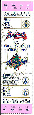 1992 World Series FULL TICKET Toronto Blue Jays GAME 6 CLINCHER in Atlanta