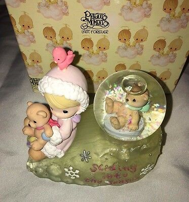Precious Moments Girl Sliding With Bears Waterball 775363 Enesco With Box