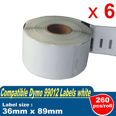 6 Rolls Compatible Label for DYMO LabelWriter-DYMO CODE:99012 36mm x 89mm White